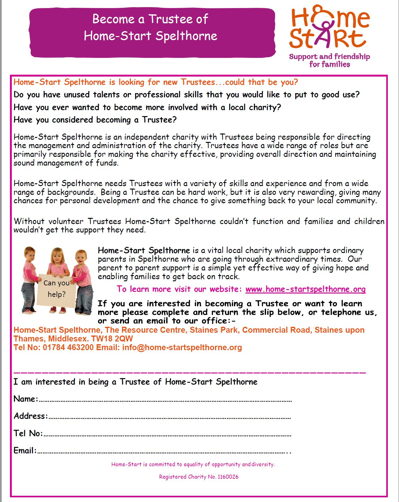 Become a Home-Start Spelthorne Trustee
