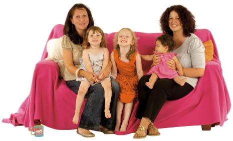 Women and girls on sofa